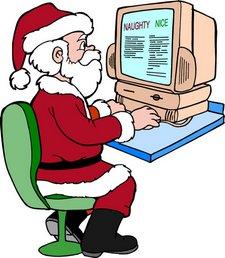 Weihnachtsmann mit Computer